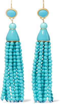 Kenneth Jay Lane - Tasseled Gold-tone Beaded Earrings - Turquoise $150 thestylecure.com