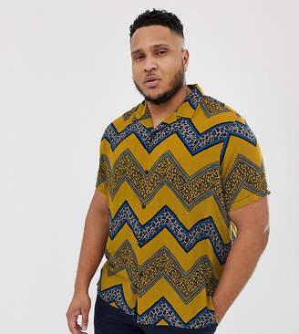 Asos Design DESIGN regular fit shirt with chevron leopard print stripe