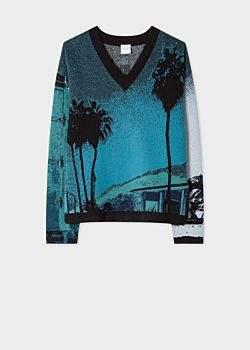 Women's Blue 'Paul's Photo' Jacquard Cotton-Blend Sweater