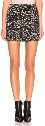 Ganni Printed Georgette Shorts in Black   FWRD