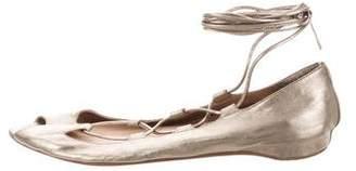 Christian Louboutin Metallic Peep-Toe Flat