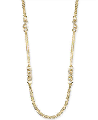 """Charter Club Gold-Tone Pave Link Long Necklace, 42"""" + 2"""" extender"""
