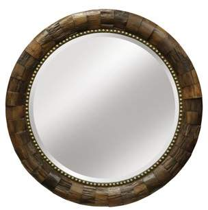 Generic Round Wood Mirror with Nail Head Trim - Natural Wood Finish