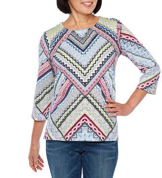 Alfred Dunner Classics 3/4 Sleeve Round Neck Chevron T-Shirt-Womens