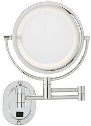 Jerdon HL65CD 8-Inch Lighted Direct Wire Wall Mount Makeup Mirror with 5x Magnification