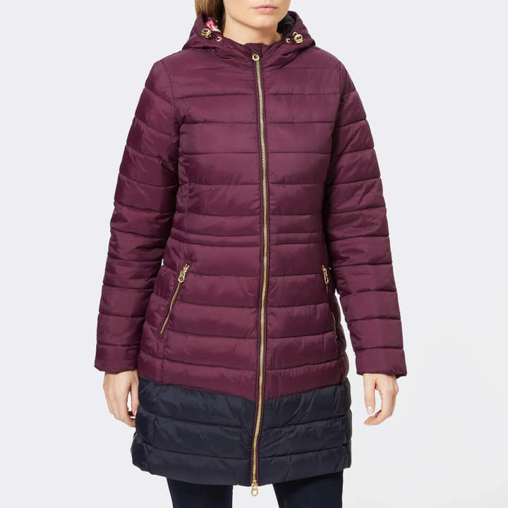 Women's Heathcote Mid Length Colour Block Quilted Coat with Hood