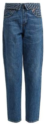 Atelier Jean Flip Fold Over Embroidered Jeans - Womens - Denim