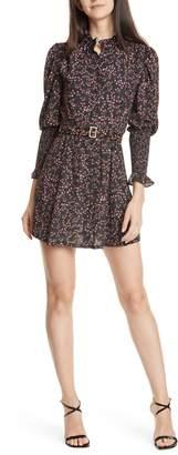 Nicholas Floral Long Sleeve Belted Silk Minidress