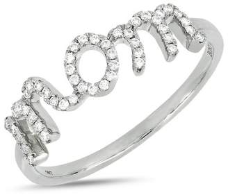 Bony Levy 18K White Gold Pave Diamond Detail Mom Ring