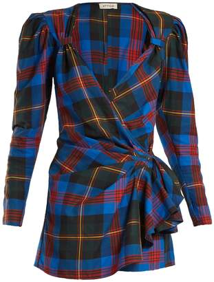 Tartan wrap mini dress