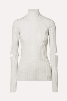Helmut Lang Cutout Ribbed Wool Turtleneck Sweater - Ivory