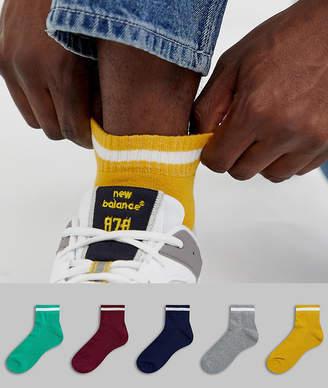 Asos Design DESIGN 5 pack super short sports socks in varsity colors save