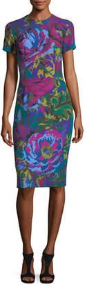 David Meister Fractured Floral Short-Sleeve Sheath Dress