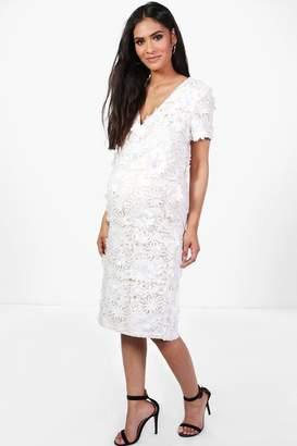 boohoo Maternity Floral Applique Sleeve Midi Dress
