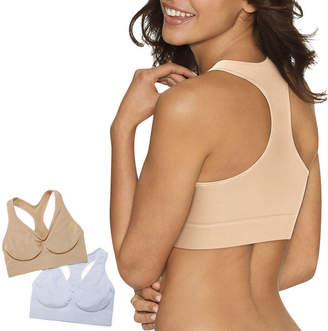 Hanes Get Cozy Pullover Comfortflex Fit 2-Pack Wireless Racerback Unlined Full Coverage Bra-Dhhb39