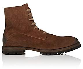 Elia Maurizi Men's Lug-Sole Oiled Suede Boots - Brown