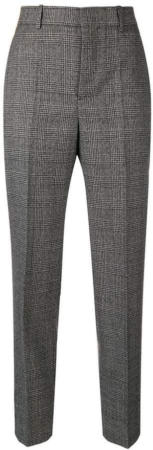 check print wool trousers