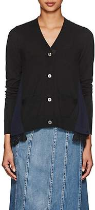 Sacai Women's Lace-Trimmed Wool Cardigan - Black, Navy