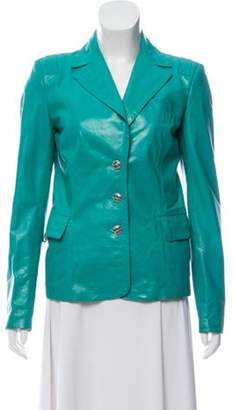 Gianni Versace Leather Button-Up Jacket Teal Leather Button-Up Jacket