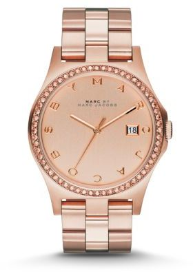 Marc by Marc Jacobs Henry Glitz Rose Goldtone IP Stainless Steel Bracelet Watch $225 thestylecure.com