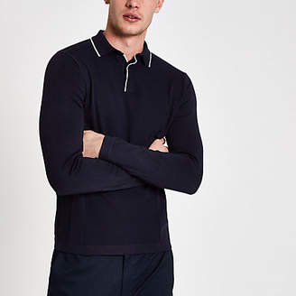 River Island Navy slim fit tipped long sleeve polo shirt