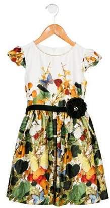 David Charles Girls' Embellished Floral Print Dress