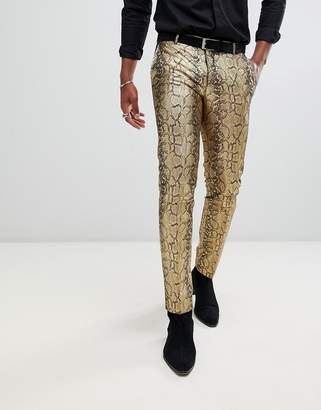 Twisted Tailor skinny fit pants in gold faux snake skin
