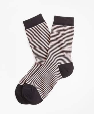 Brooks Brothers Striped Cotton-Blend Socks