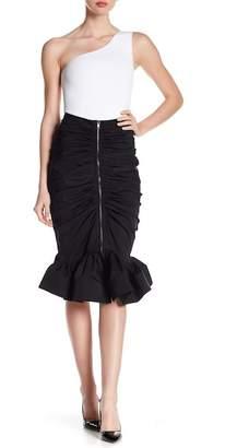 Gracia Ruched Ruffle Hem Skirt