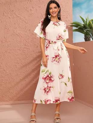 Shein Floral Print Belted Keyhole Back Dress