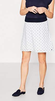 Esprit flowing print skirt + under-bump waistband