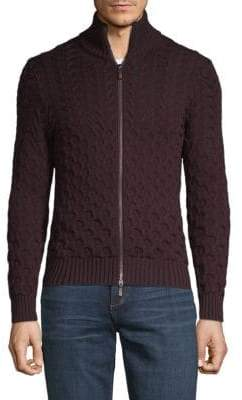 Etro Mixed-Knit Wool Zip Cardigan