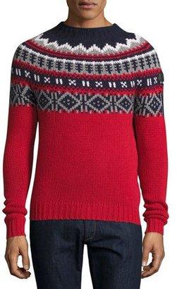 Moncler Fair Isle Crewneck Sweater, Red/Multi $480 thestylecure.com