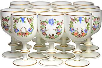 One Kings Lane Vintage Enamelled French Glass Goblets - Set of 14 - Portfolio No.6