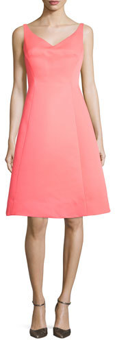 Kate Spade Kate Spade New York Sleeveless Structured Fit-And-Flare Dress, Surprise Coral