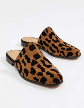 Asos DESIGN Moonshine leather mules in leopard print