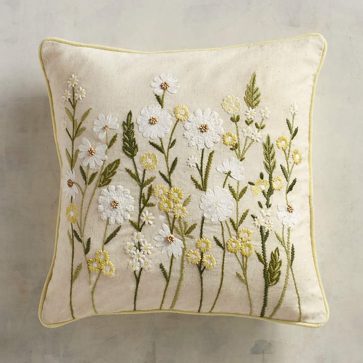 Embroidered Natural Daisies Pillow