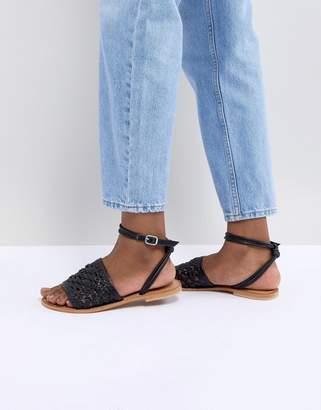 Asos DESIGN Faithful Woven Leather Sandals