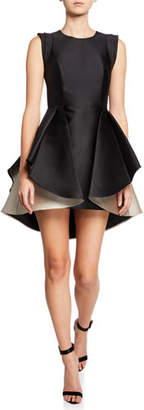 Halston Structured Cap-Sleeve Satin Twill Dress with Dramatic Skirt