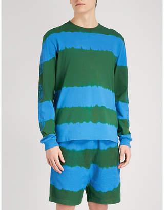 Billionaire Boys Club Striped bleached cotton-jersey top