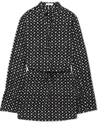Equipment Trista Printed Silk-crepe Mini Dress - Black