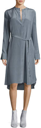 Robert Rodriguez Striped Silk Long-Sleeve Shirtdress, Blue