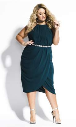 City Chic Citychic Wrap In Love Dress - emerald
