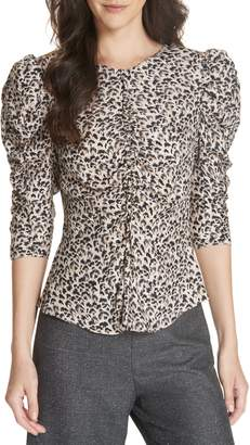 Rebecca Taylor Leopard Print Ruched Silk Blouse