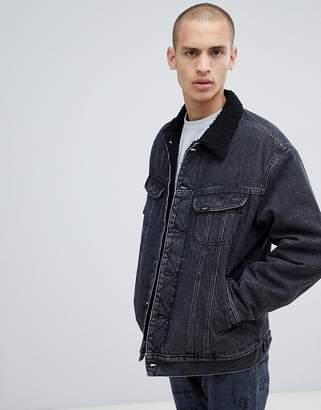 Lee borg denim jacket black stone