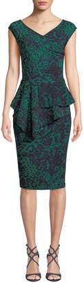 Chiara Boni Tini Floral-Print Cap-Sleeve Sheath Dress
