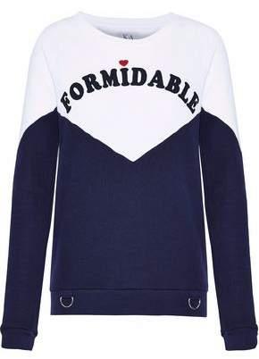 Zoe Karssen Appliquéd Two-Tone French Cotton-Blend Terry Sweatshirt