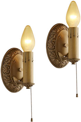 Rejuvenation Pair of Classical Revival Candle Sconces w/ Pull Chains