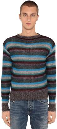Prada Striped Mohair Blend Knit Sweater