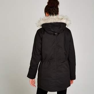 c3c2fcdcc1e Apricot Black Removable Padding Faux Fur Hood Coat